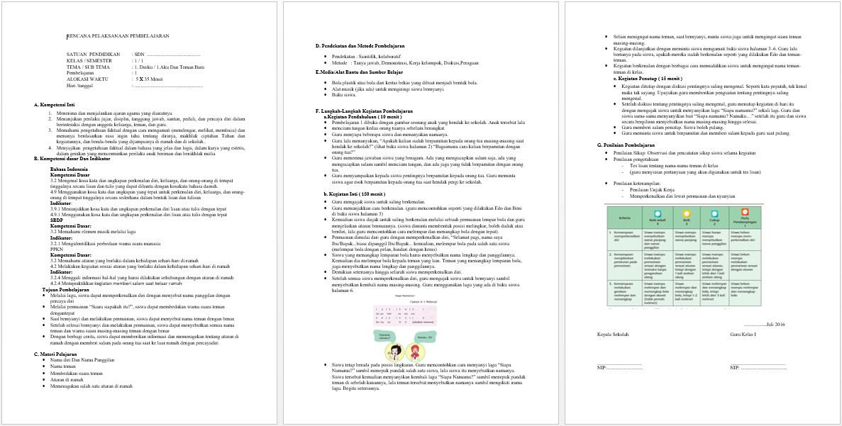 Contoh RPP K13 SD Kelas 1 Revisi Terbaru