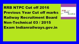 RRB NTPC Cut off 2016 Previous Year Cut off marks Railway Recruitment Board Non-Technical 03 / 2015 Exam Indianrailways.gov.in