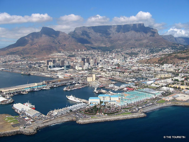 South Africa, Cape Town, Helicopter ride, Table Mountain, V&A Waterfront