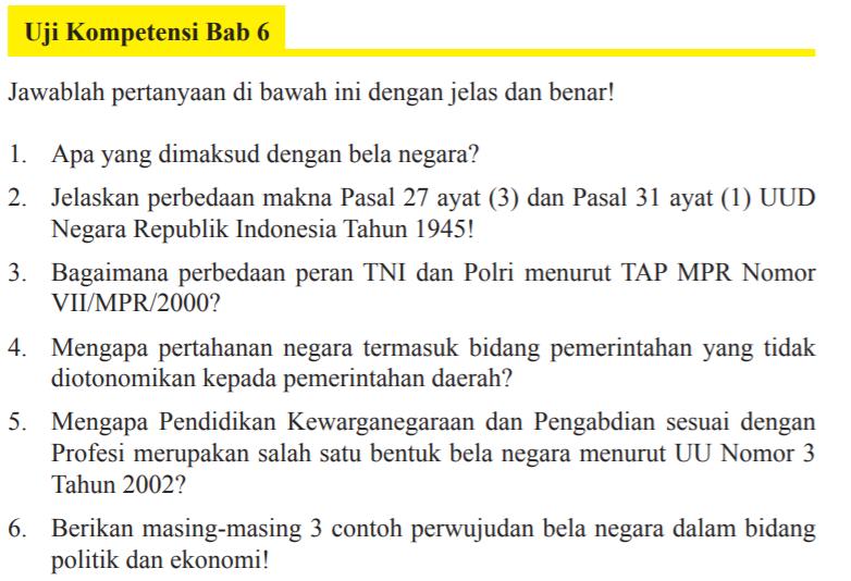 Jawaban Uji Kompetensi Bab 6 Pkn Kelas 9 Halaman 184 Bela Negara Dalam Konteks Nkri Bastechinfo
