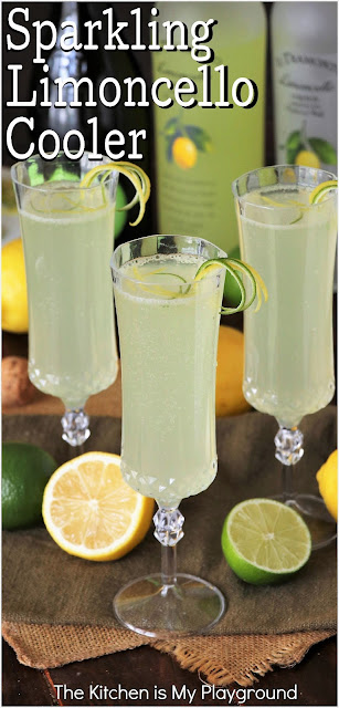 Sparkling Limoncello Cooler ~ A refreshing combination of fresh lime juice, Limoncello, & bubbly sparkling wine. This may just be the perfect spring & summer cocktail!  www.thekitchenismyplayground.com