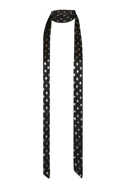black gold spotty scarf, thin spotty scarf,