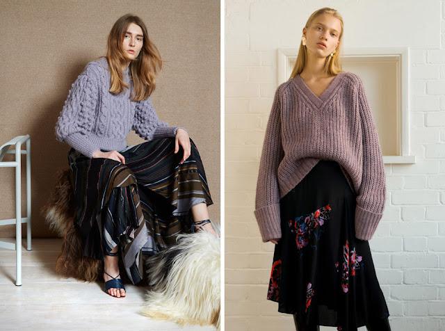 Сиреневый свитер грубой вязки с легкой юбкой с цветочным принтом