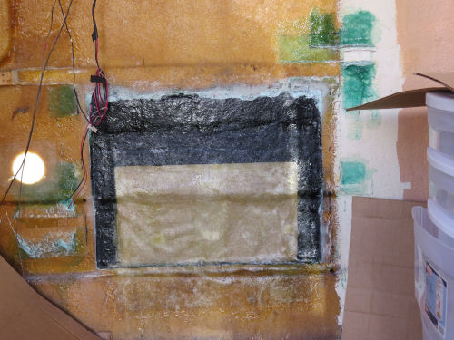 repairing large hole in fiberglass trailer wall