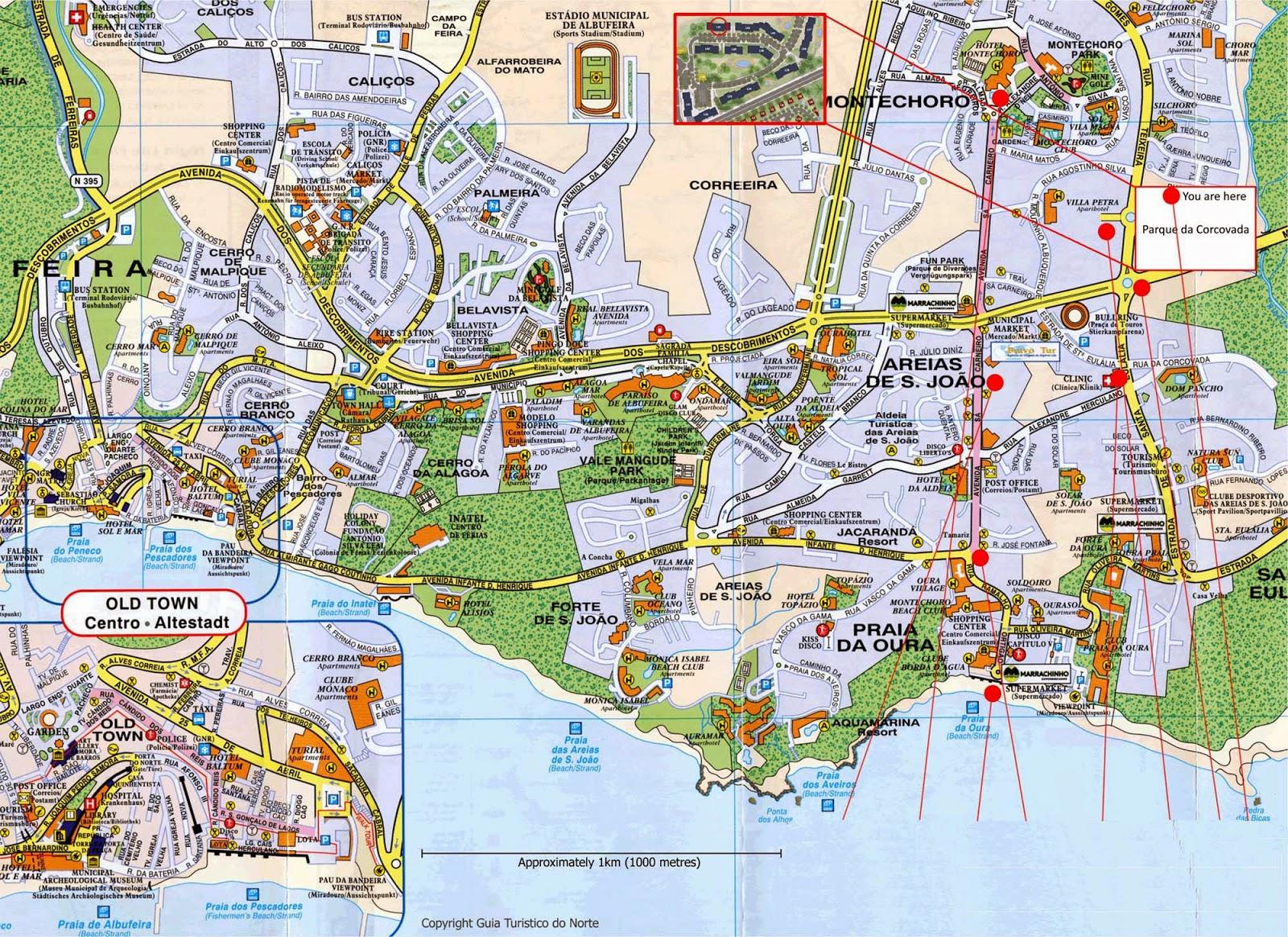 mapa albufeira map albufeira algarve mapa albufeira