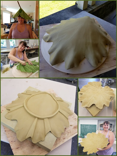 The making of a gunnera leaf platter by Lily L (Tiger Lily Pottery).