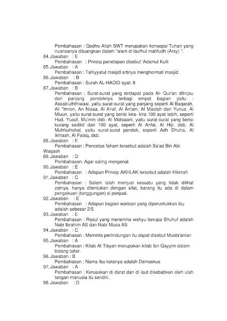 275 + Contoh Soal Tes CPNS SKB PAI (Pendidikan Agama Islam)
