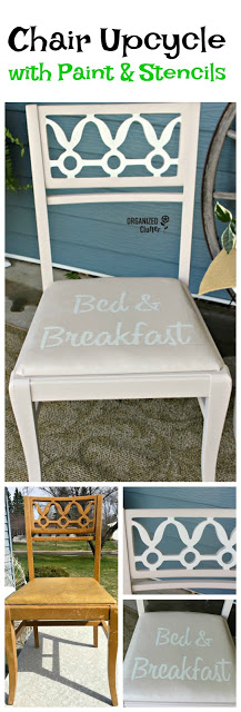 Upcycled Thrift Shop Chair #fusionmineralpaint #oldsignstencils #upcycle