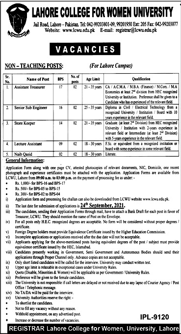 Lahore College for Women University LCWU Latest Jobs 2021- Online Apply