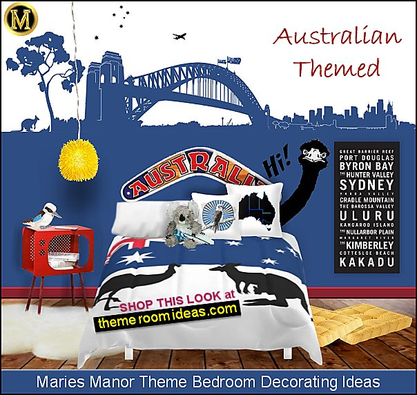 Sydney  Australia Themed Bedroom Decorating harbor bridge wall decal australian flag bedding koalas