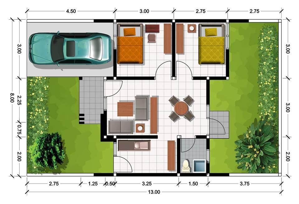 Desain Denah Rumah Minimalis Type 40  40 contoh denah rumah minimalis beserta ukurannya foto