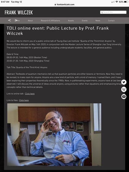 Nobel winner Frank Wilczek presents anyon lecture (Source: Frank Wilczek)