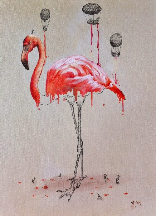 07-Dripping-Flamingo-Ricardo-Solis-Animal-Paintings-and-their-Back-Story-www-designstack-co