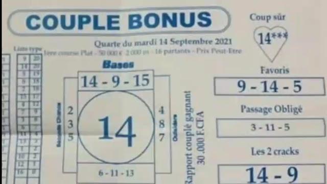 Pronostics quinté pmu Mardi Paris-Turf-100 % 14/09/2021