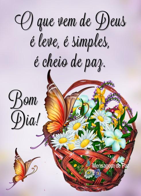 O que vem de Deus  é leve, é simples,   é cheio de paz.  Bom Dia!