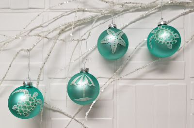 LucyDesignsArt.com Beach coastal theme hand painted Christmas ornaments