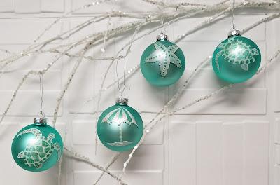 LucyDesignsArt.com Beach coastal theme hand painted Christmas ornaments