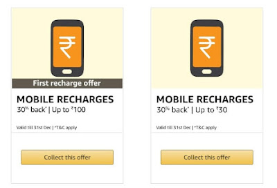 30% Cashback Upto Rs. 100 on Mobile Recharges (First Recharge) With Amazon