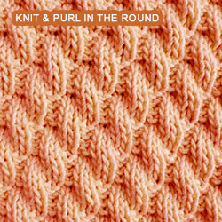 Right Diagonal Rib - knitting in the round Knit - Purl stitches
