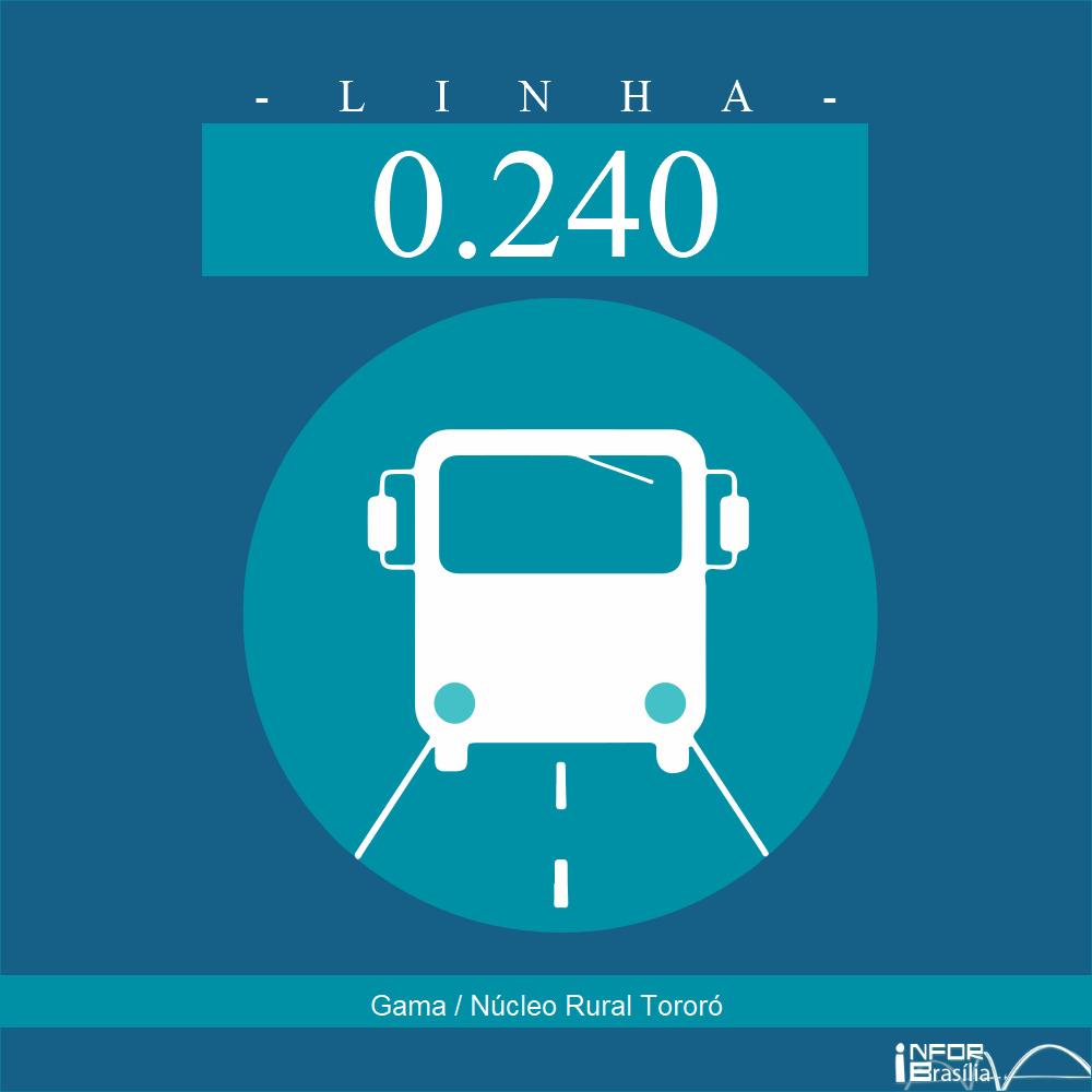 Horário de ônibus e itinerário 0.240 - Gama / Núcleo Rural Tororó