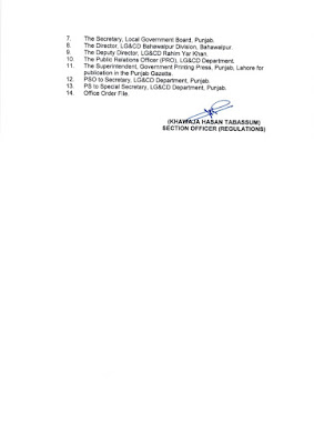 DEMARCATION OF TEHSIL COUNCILS AND ABOLISHED TOWN COMMITTEES OF DISTRICT RAHIM YAR KHAN