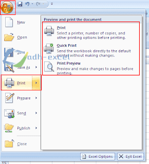 how to print Excel file