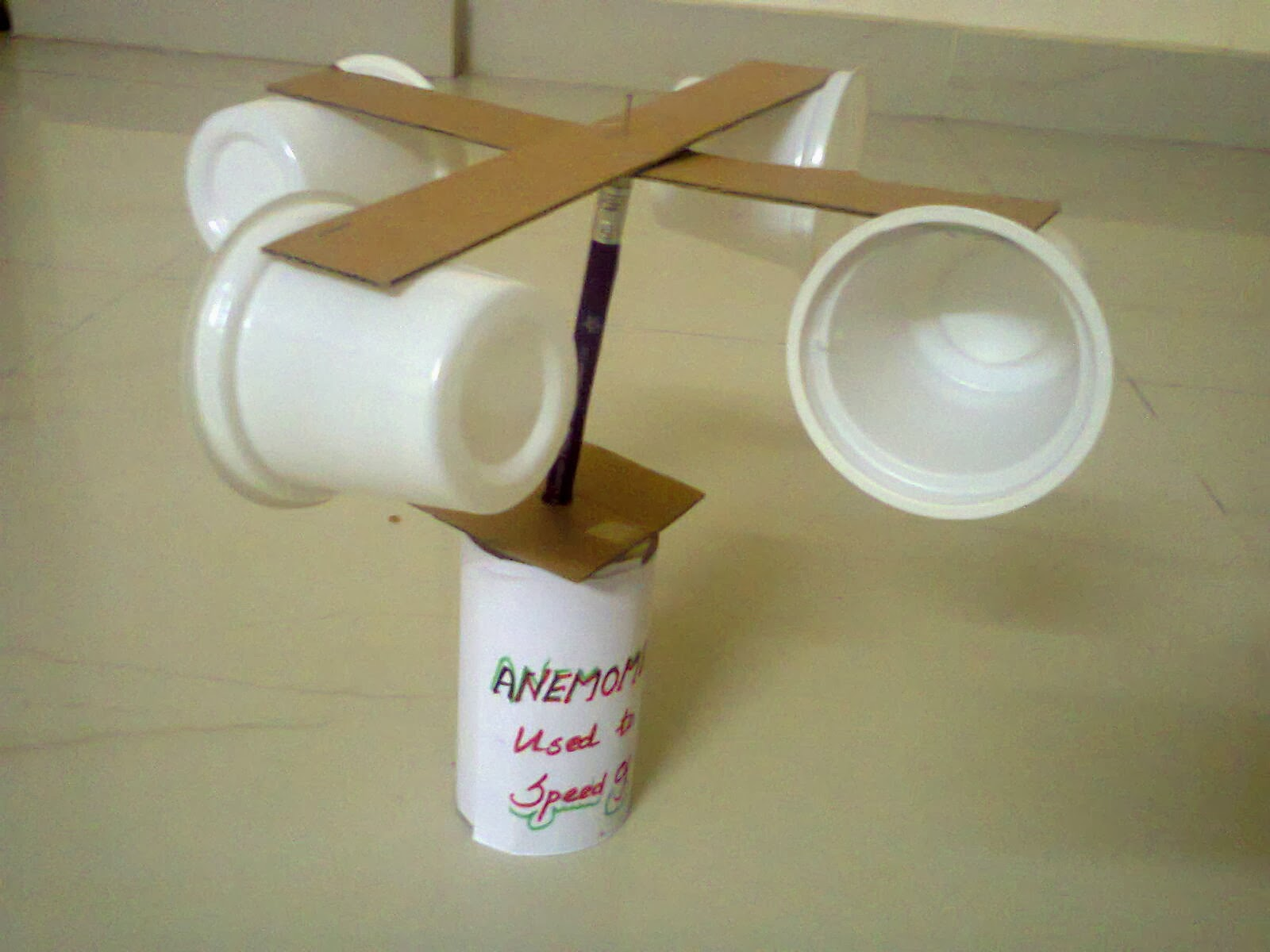Creative of rainy anemometer for Project of best out of waste