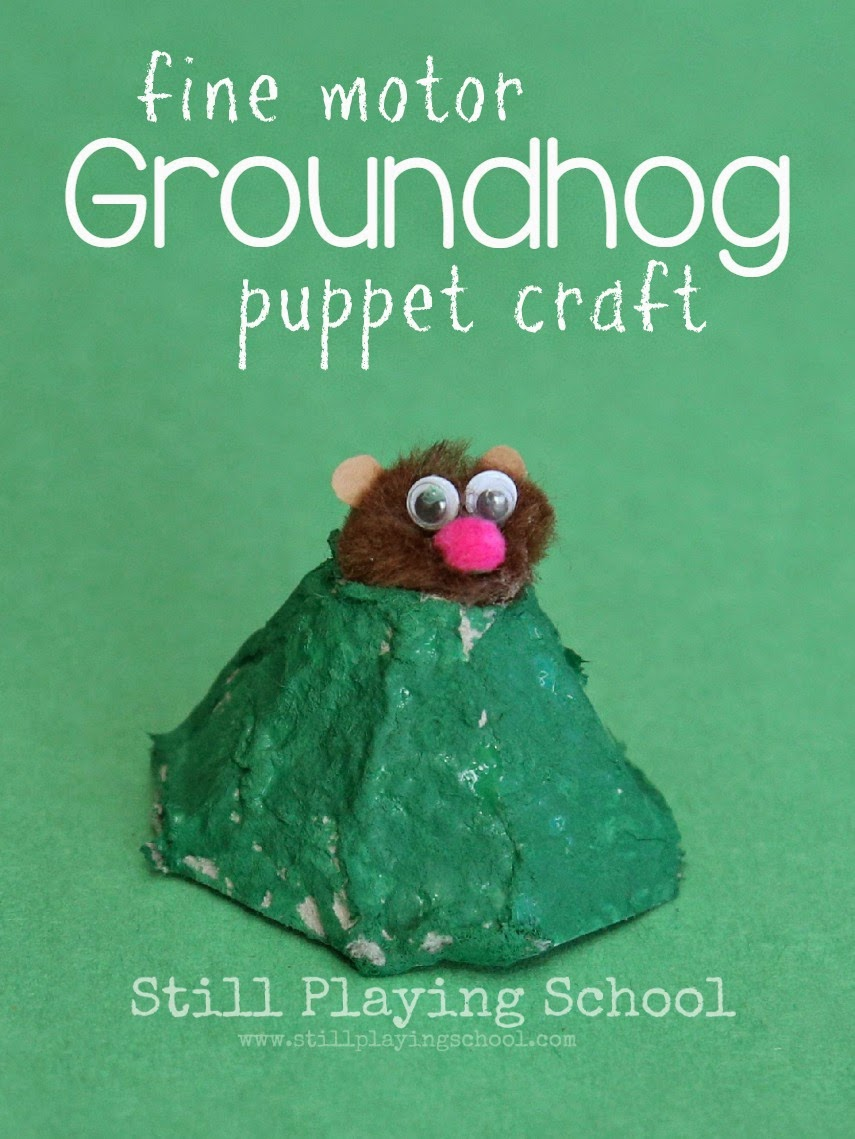 Groundhog finger puppet craft still playing school for Groundhog day crafts for preschoolers