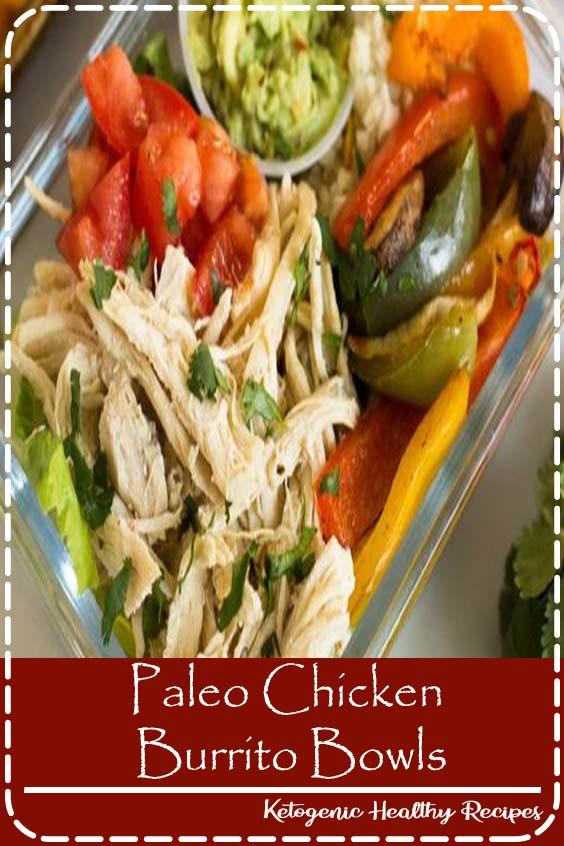 Meal Prep Paleo Chicken Burrito Bowls make for a fresh, inexpensive, and healthy dish for an easy meal or meal prep. Makes 5 servings, ready in under an hour, and Whole30 approved!  #whole30 #paleo #healthy