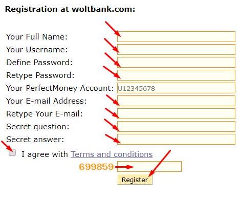 Регистрация в WoltBank 2