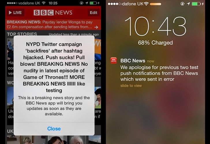 BBC News iOS App Not Hacked, Breaking News Push Messages Sent in Error