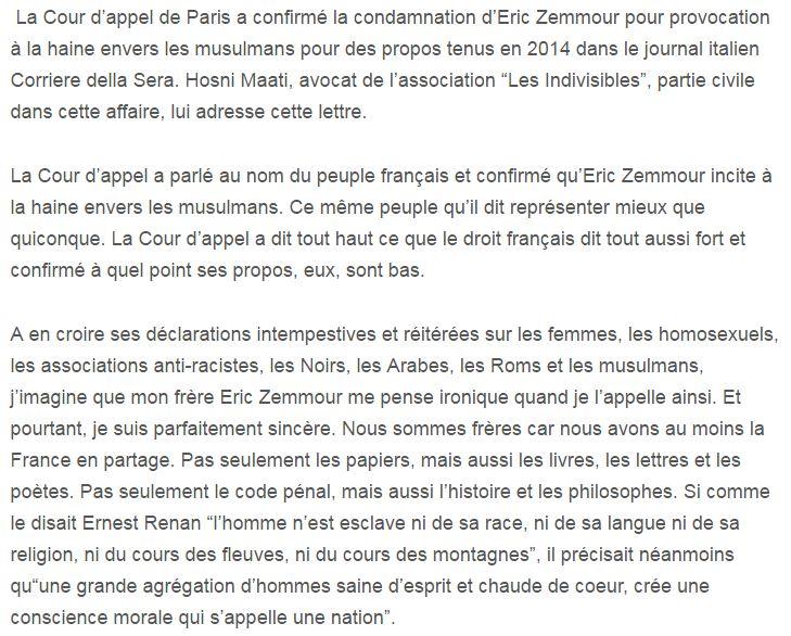 Choufoukolli Lettre à Mon Frère Eric Zemmour Par Lavocat