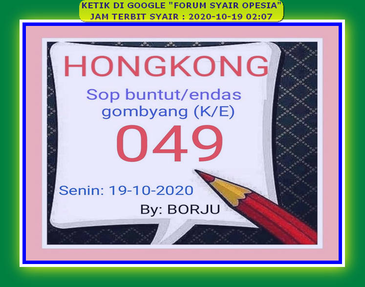 Kode syair Hongkong senin 19 oktober 2020 126