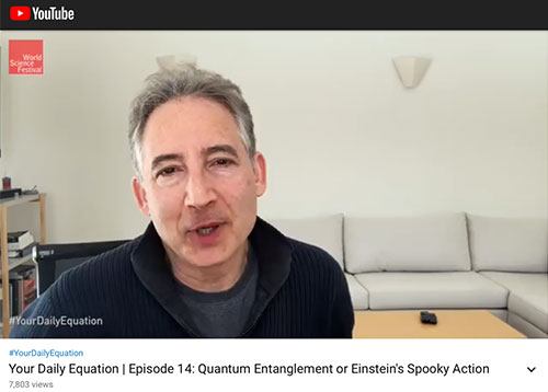 Brian Green offers a discussion and explanation of equations in physics (Source: Brian Greene, Your Daily Equation)