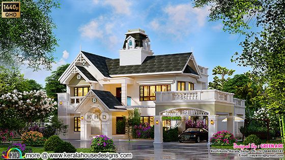 3d rendering of a classic European style house