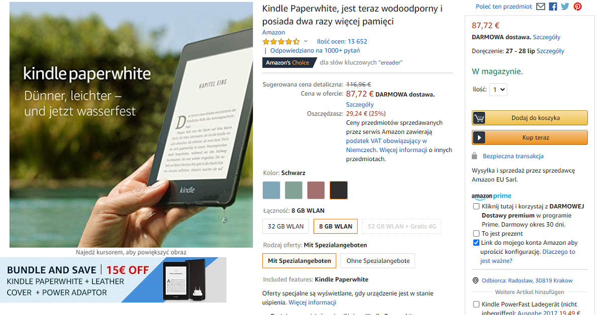 Kindle Papewhite 4 tańszy o prawie 30 EUR w wakacyjnej promocji w Amazon.de