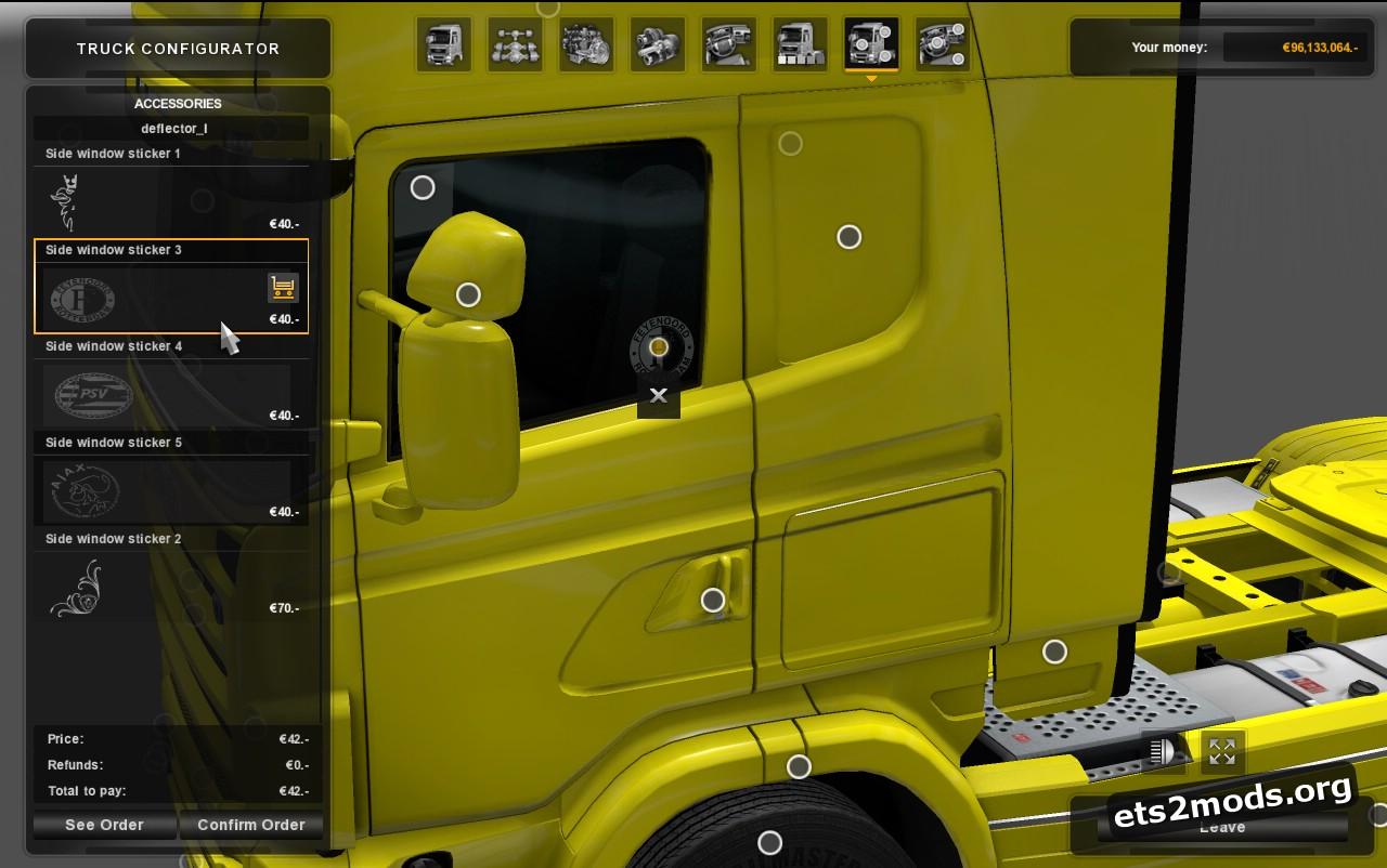 Scania RJL Side Window Stickers