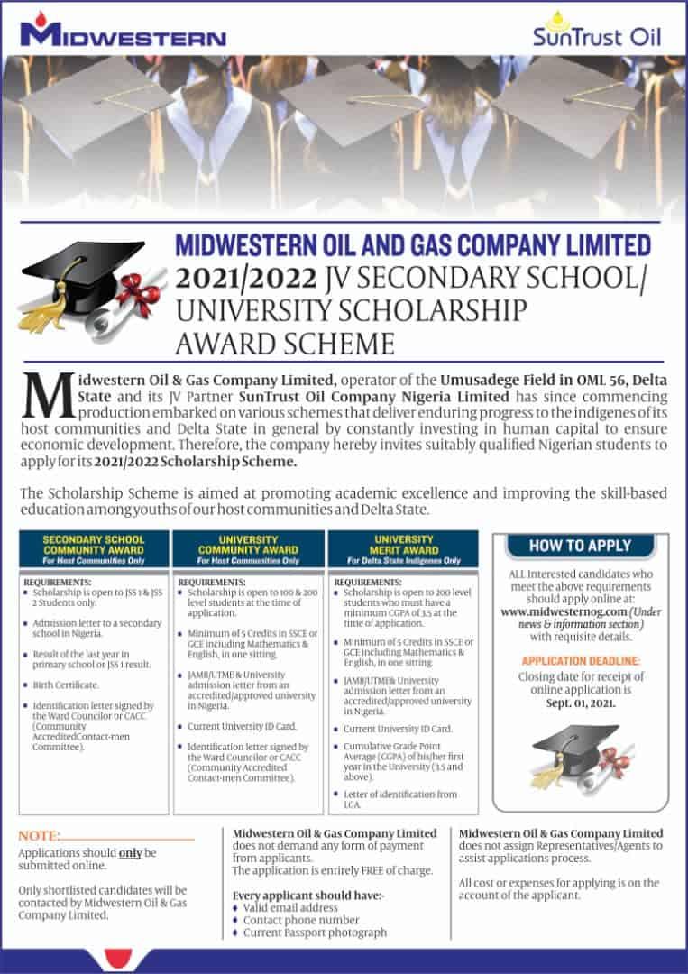 Midwestern Oil & Gas JV Scholarship 2021/2022   Sec. & Uni. Students