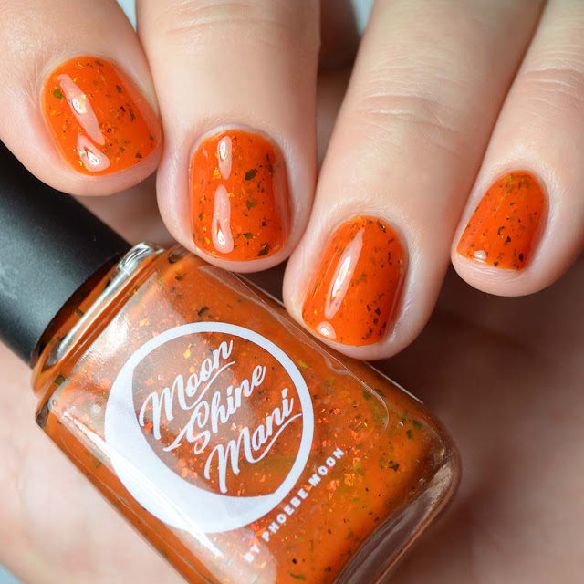 orange nail polish with multichrome flakies