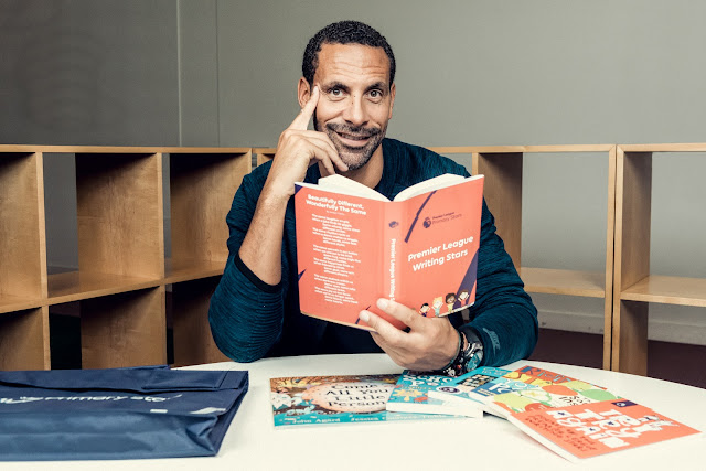 footballer  Rio Ferdinad reading poetry book for writing stars