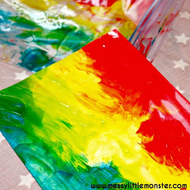 "An easy, no mess rainbow art idea for babies, toddlers and preschoolers. A fun rainbow, weather, st patricks day or Spring project.  The heart cut out makes this a great valentines day activity for kids too. ""My color is rainbow"" book craft."