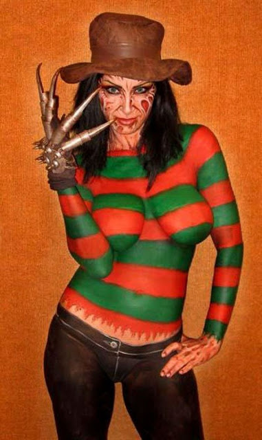 Freddy Kruger with Boobs Body Paint