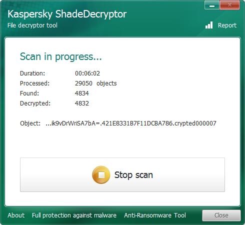 Kaspersky ShadeDecryptor  stop scan