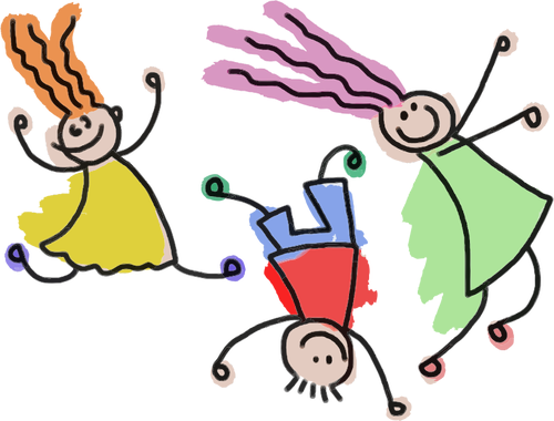 Stick figure drawing of 3 brightly coloured children doing cartwheels