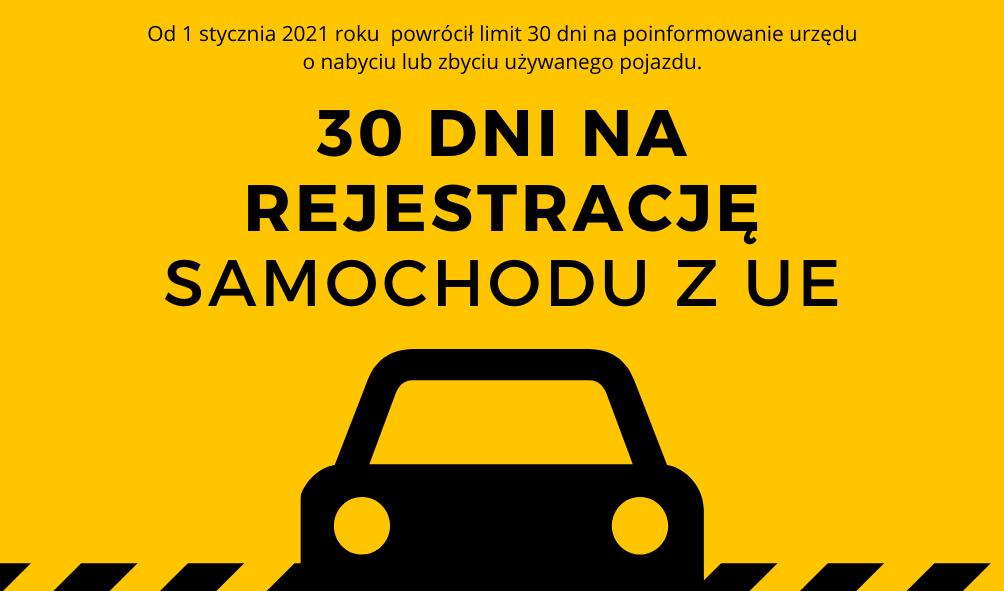 Wraca 30-dniowy termin rejestracji pojazdów