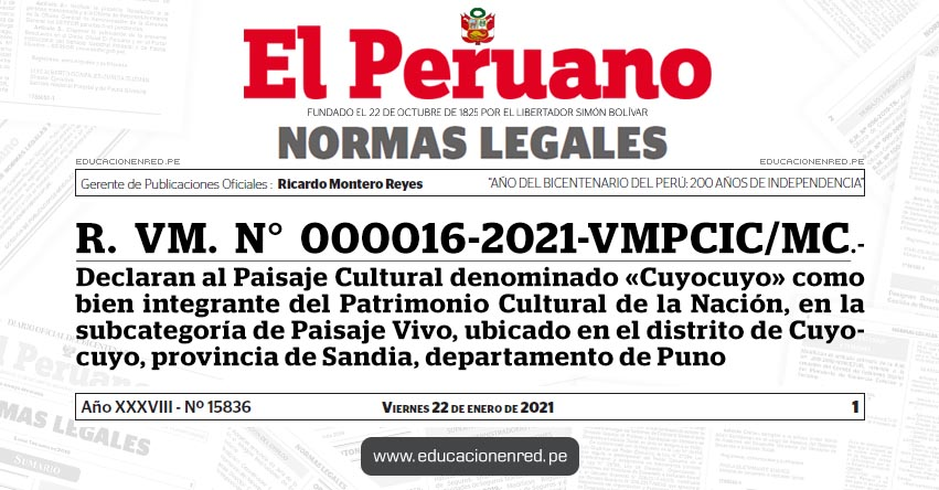 R. VM. N° 000016-2021-VMPCIC/MC.- Declaran al Paisaje Cultural denominado «Cuyocuyo» como bien integrante del Patrimonio Cultural de la Nación, en la subcategoría de Paisaje Vivo, ubicado en el distrito de Cuyocuyo, provincia de Sandia, departamento de Puno