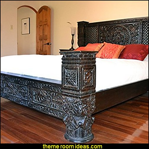 Lotus Low Pillar Bed by Worldcraft Industries exotic theme decor exotic style furniture