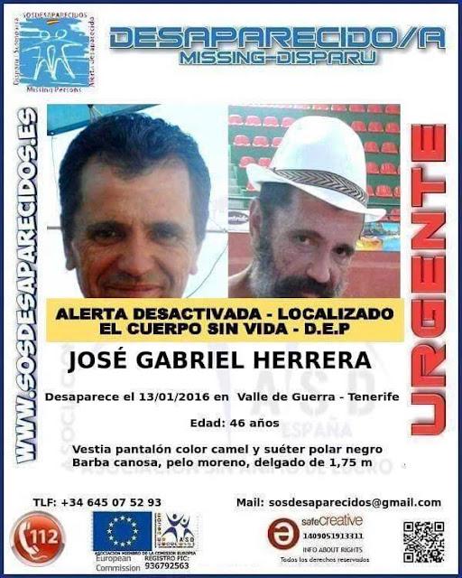 José Gabriel Herrera, que estaba dado como desaparecido desde el 13 de enero en valle Guerra, Tenerife, ha sido encontrado muerto hoy martes 8 marzo