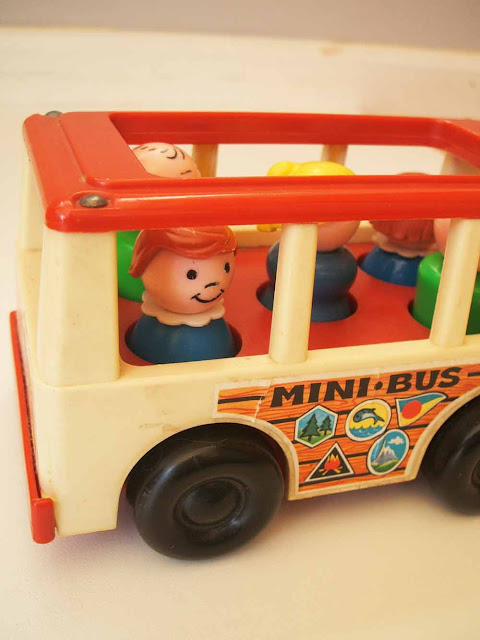vintage Fisher Price mini bus children's toy
