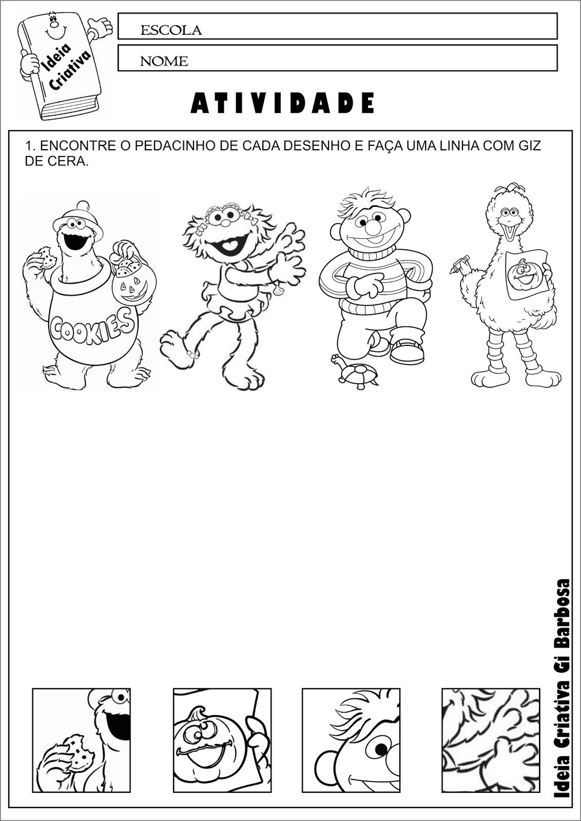 Atividade Educacao Infantil Coordenacao Motora Personagens Vila